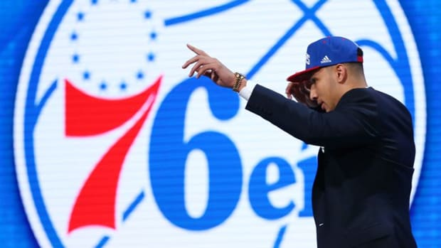 Jun 23, 2016; New York, NY, USA; Ben Simmons (LSU) reacts as he walks off stage after being selected as the number one overall pick to the Philadelphia 76ers in the first round of the 2016 NBA Draft at Barclays Center. Mandatory Credit: Jerry Lai-USA TODAY Sports