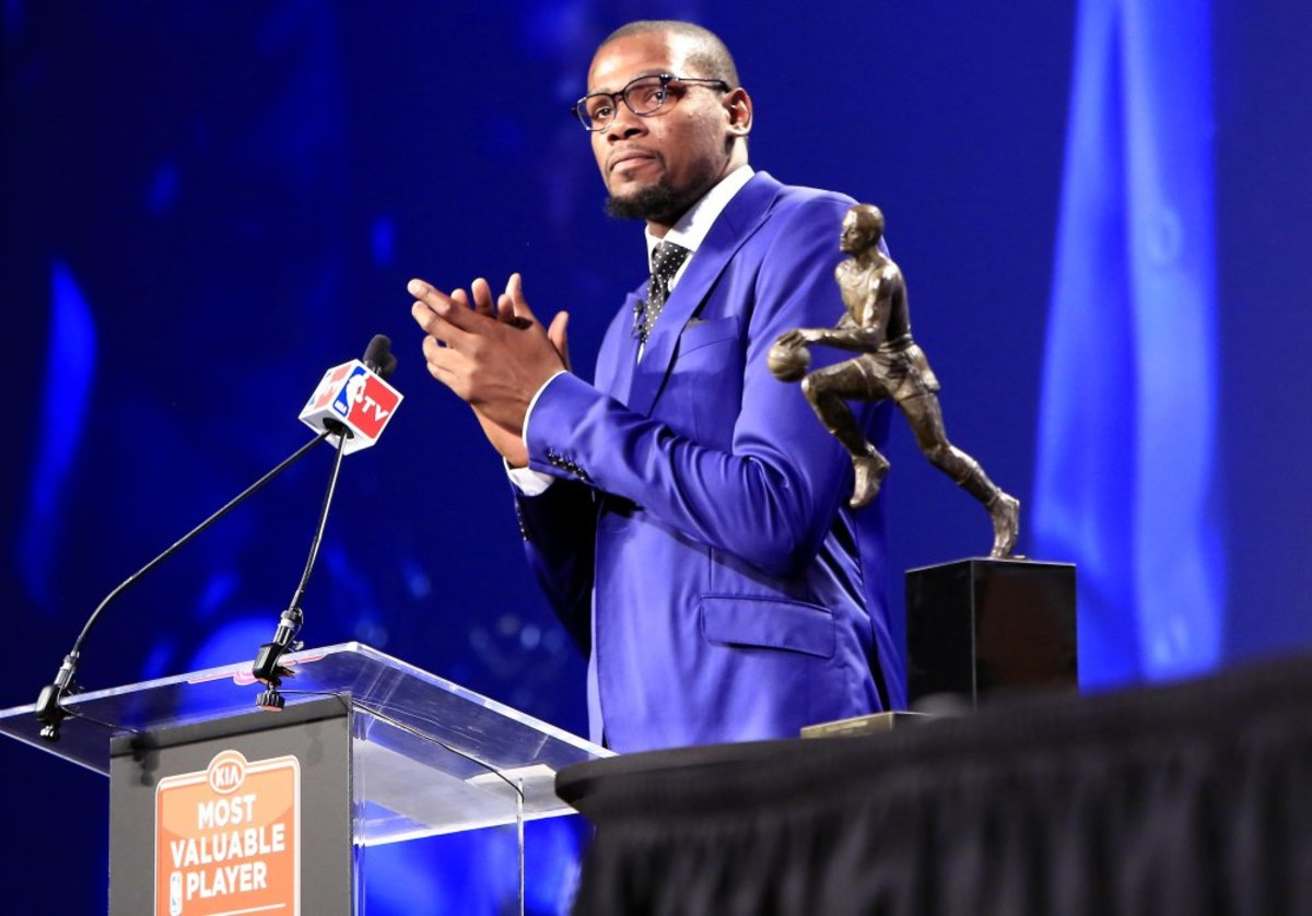 May 6, 2014; Oklahoma City, OK, USA; Oklahoma City Thunder forward Kevin Durant speaks after receiving the 2013-2014 MVP trophy at Thunder Events Center. Mandatory Credit: Alonzo Adams-USA TODAY Sports ORG XMIT: USATSI-180840 ORIG FILE ID:  20140506_jla_aa4_729.jpg