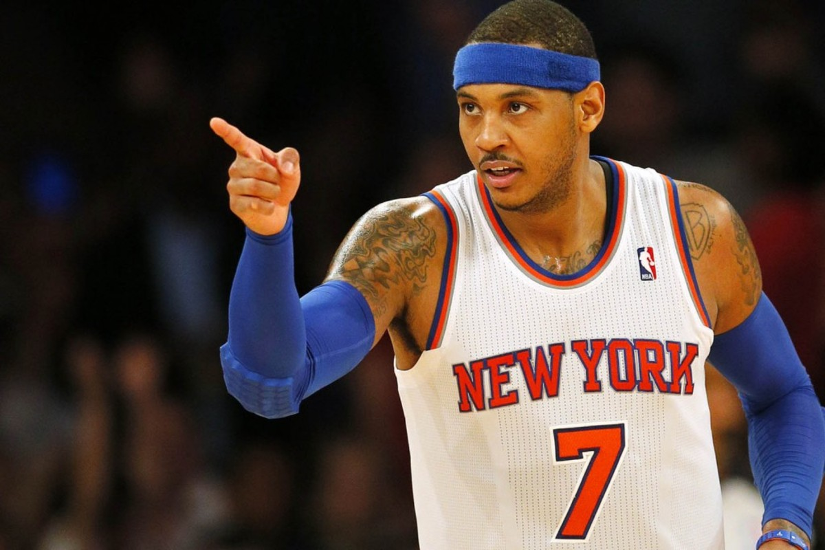 New York, New York, 2/06/2013 Carmelo Anthony #7 of the New York Knicks reacts during the third quarter. The Knicks defeated the Magic at Madison Square Garden on February 06, 2013.  (Paul J. Bereswill)