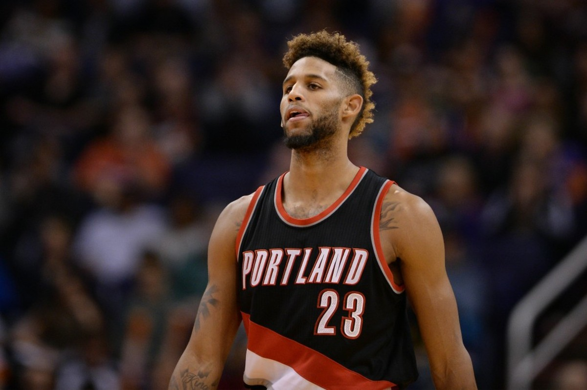 Crabbe (23) walks up the court in the second half against the Phoenix Suns at Talking Stick Resort Arena. The Trail Blazers won 106-96. Mandatory Credit: Jennifer Stewart-USA TODAY Sports