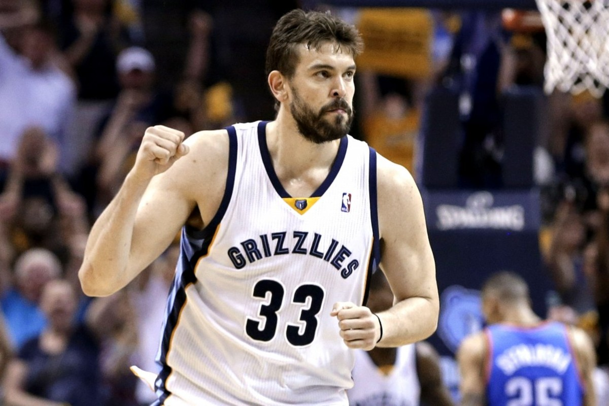 Memphis Grizzlies center Marc Gasol celebrates after scoring against the Oklahoma City Thunder in overtime of Game 3 of an opening-round NBA basketball playoff series Thursday, April 24, 2014, in Memphis, Tenn. The Grizzlies won 98-95. (AP Photo/Mark Humphrey)