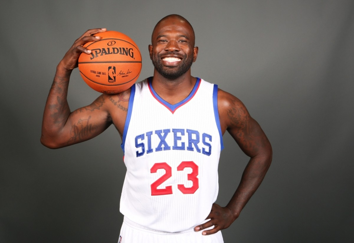 Sep 29, 2014; Philadelphia, PA, USA; Philadelphia 76ers guard Jason Richardson (23) during media day at the Wells Fargo Center. Mandatory Credit: Bill Streicher-USA TODAY Sports