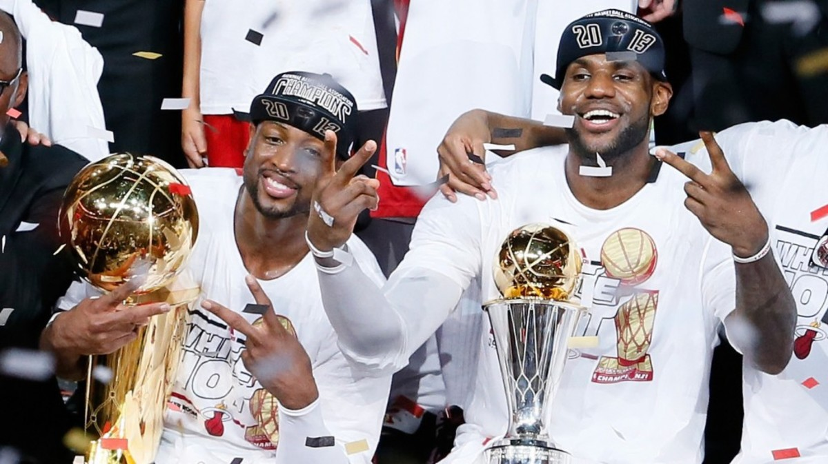 Dwyane Wade, left, and LeBron James celebrate after defeating the San Antonio Spurs 95-88 in Game Seven of the 2013 NBA Finals at AmericanAirlines Arena in Miami.