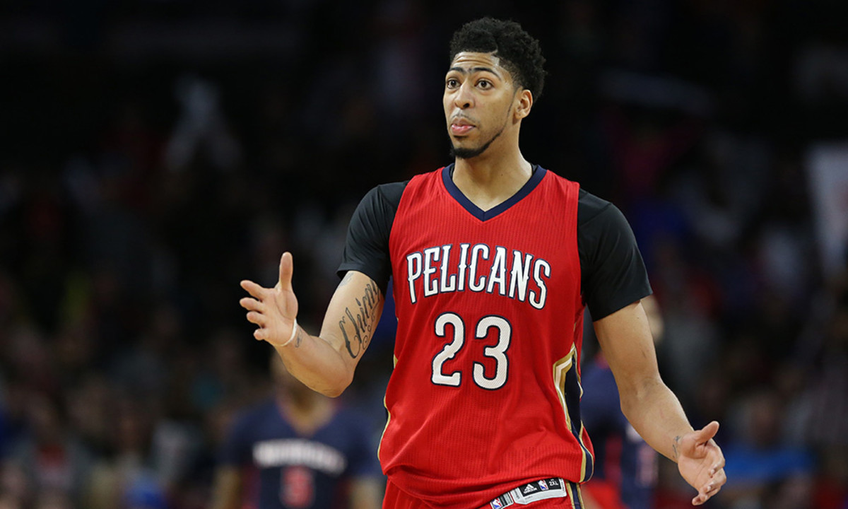 Feb 21, 2016; Auburn Hills, MI, USA; New Orleans Pelicans forward Anthony Davis (23) celebrates after making a three point shot during the fourth quarter of the game against the Detroit Pistons at The Palace of Auburn Hills. The Pelicans defeated the Pistons 111-106. Mandatory Credit: Leon Halip-USA TODAY Sports