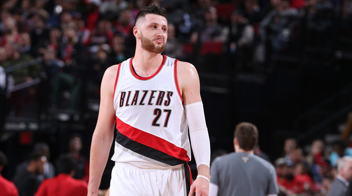 PORTLAND, OR - MARCH 9: Jusuf Nurkic #27 of the Portland Trail Blazers reacts to a play against the Philadelphia 76ers during the game on March 9, 2017 at the Moda Center in Portland, Oregon. NOTE TO USER: User expressly acknowledges and agrees that, by downloading and or using this Photograph, user is consenting to the terms and conditions of the Getty Images License Agreement. Mandatory Copyright Notice: Copyright 2017 NBAE (Photo by Sam Forencich/NBAE via Getty Images)