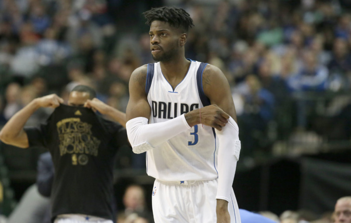 Dallas Mavericks forward Nerlens Noel (3) comes into the game during the first half of an NBA basketball game against the New Orleans Pelicans in Dallas, Saturday, Feb. 25, 2017. (AP Photo/LM Otero)