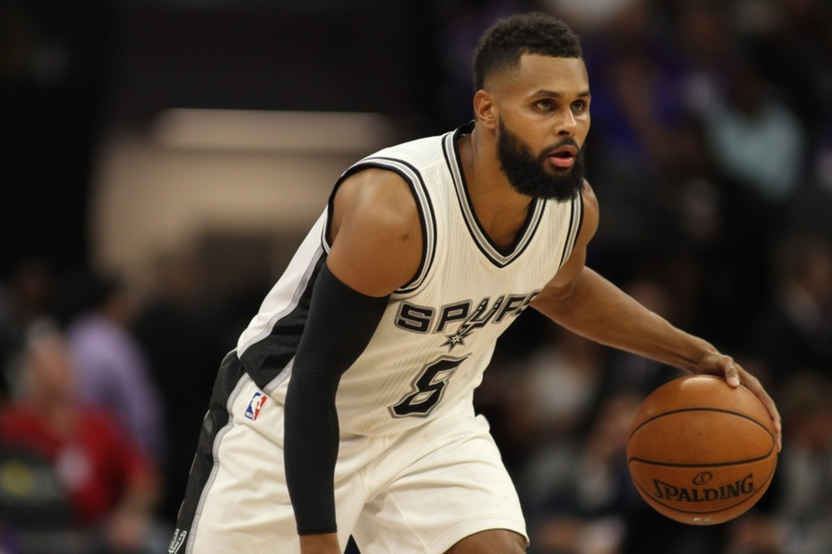 Oct 27, 2016; Sacramento, CA, USA;  San Antonio Spurs guard Patty Mills (8) during the game against the Sacramento Kings at Golden 1 Center. The Spurs won the game 102-94. Mandatory Credit: Sergio Estrada-USA TODAY Sports