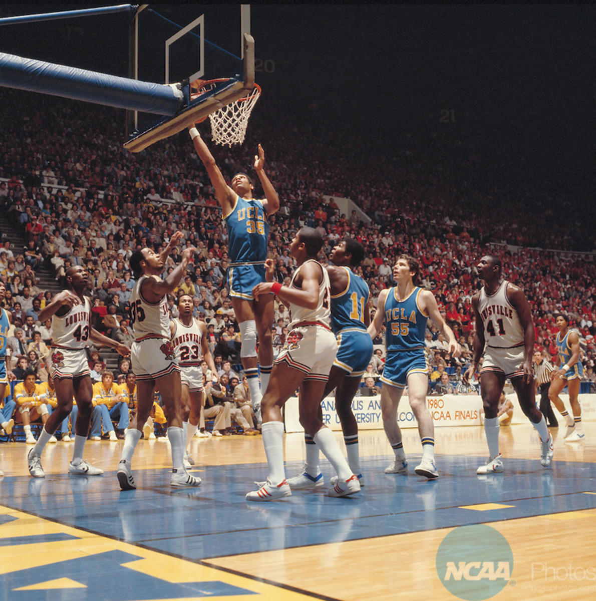 24 MAR 1980:  UCLA forward James Wilkes (35), forward Mike Sanders (11), forward Kiki Vandeweghe (55), and Louisville forward Derek Smith (43), guard Darrell Griffith (35), guard Tony Branch (23), forward Scooter McCray (21) and center Wiley Brown (41) during the NCAA Men's National Basketball Final Four championship game held in Indainapolis, IN, at the Market Square Arena. Louisville defeated UCLA 59-54 for the championship. Photo by Rich Clarkson/NCAA PhotosSI CD 0023-29