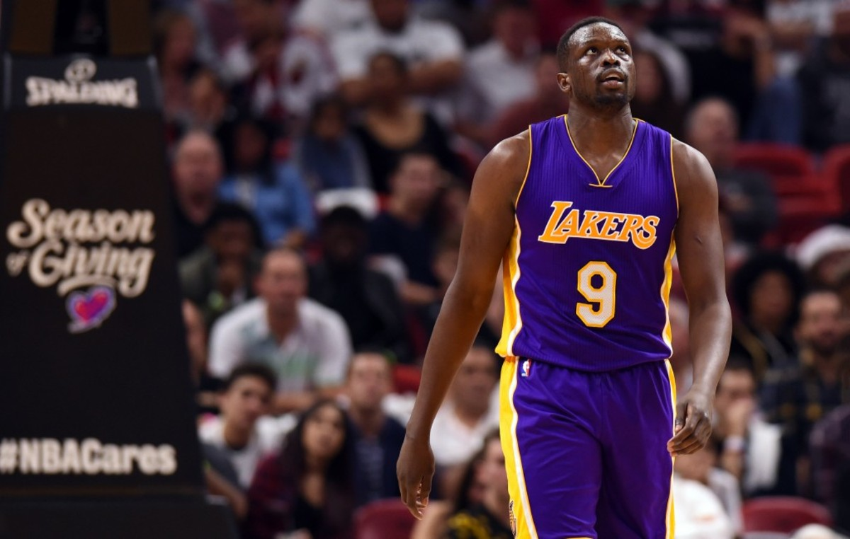 Dec 22, 2016; Miami, FL, USA; Los Angeles Lakers forward Luol Deng (9) looks on during the second half against the Miami Heat at American Airlines Arena. Mandatory Credit: Steve Mitchell-USA TODAY Sports