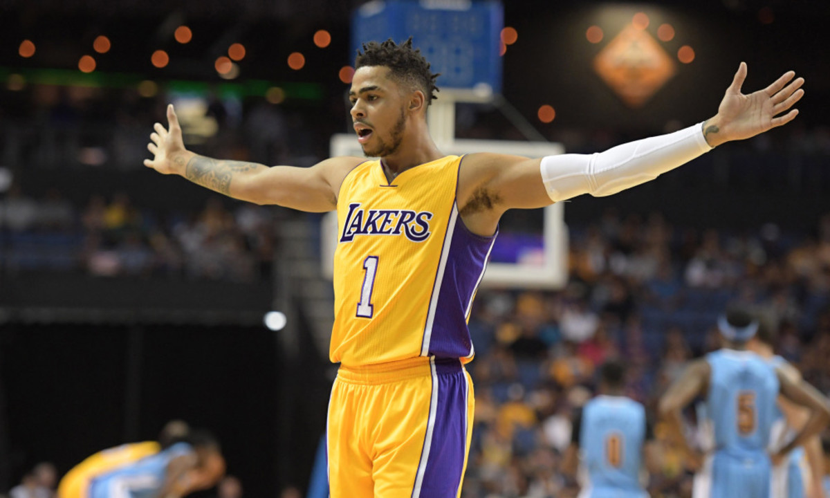 Oct 9, 2016; Ontario, CA, USA;Los Angeles Lakers guard D'Angelo Russell (1) reacts against the Denver Nuggets at Citizens Business Bank Arena. Mandatory Credit: Kirby Lee-USA TODAY Sports ORG XMIT: USATSI-325874 ORIG FILE ID:  20161009_mta_al2_050.JPG