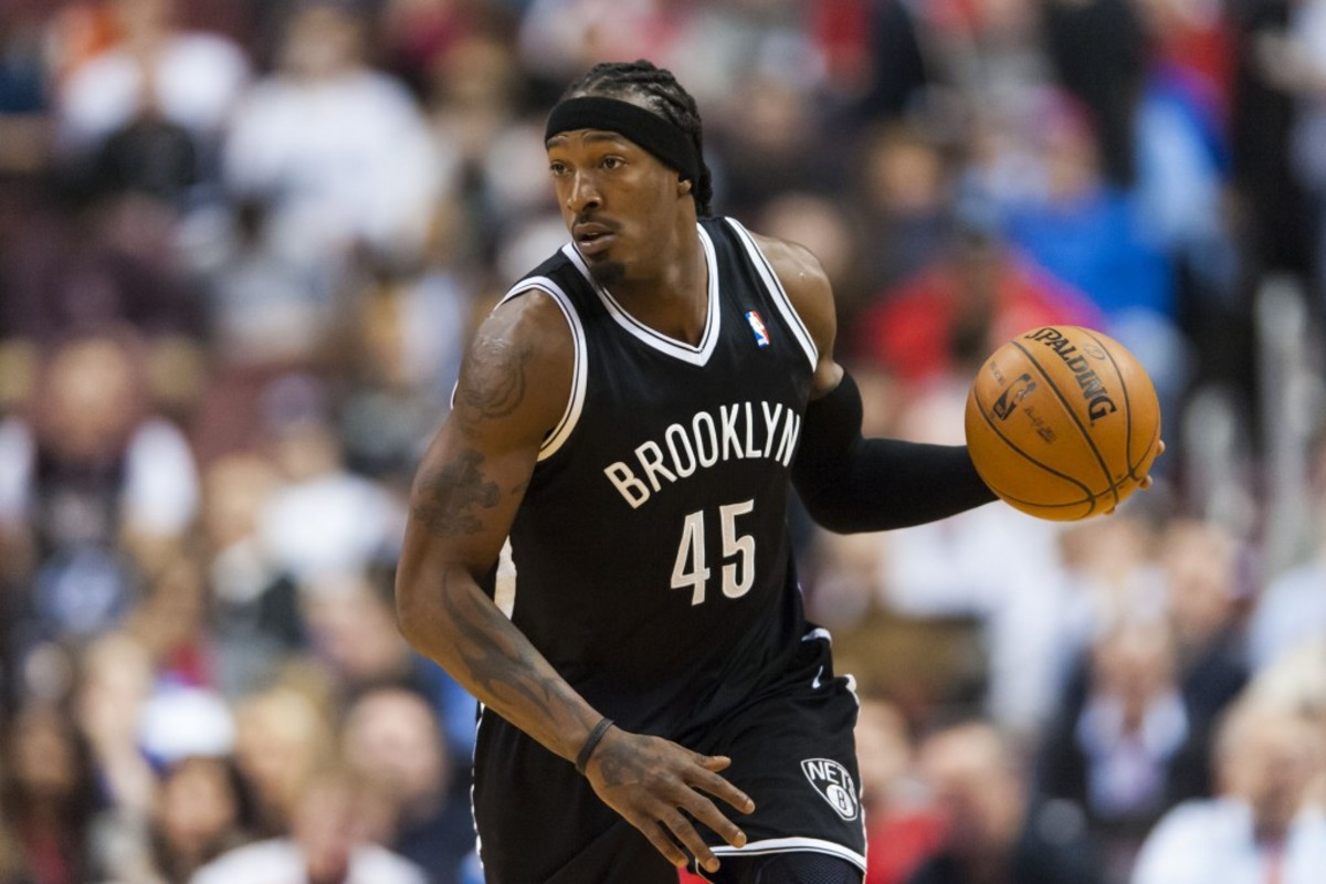 Jan 08, 2013; Philadelphia, PA, USA; Brooklyn Nets forward Gerald Wallace (45) brings the ball up court during the third quarter against the Philadelphia 76ers at the Wells Fargo Center. The Nets defeated the Sixers 109-89. Mandatory Credit: Howard Smith-USA TODAY Sports