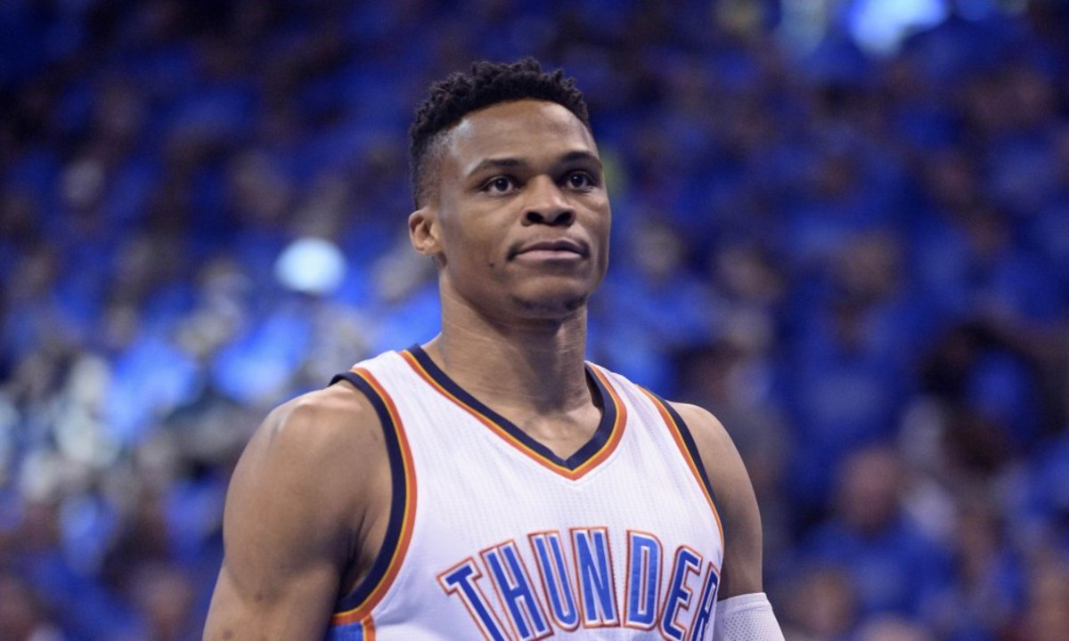 May 28, 2016; Oklahoma City, OK, USA; Oklahoma City Thunder guard Russell Westbrook (0) reacts before the game against the Golden State Warriors in game six of the Western conference finals of the NBA Playoffs at Chesapeake Energy Arena. Mandatory Credit: Mark D. Smith-USA TODAY Sports ORG XMIT: USATSI-269250 ORIG FILE ID:  20150528_krj_ax3_44.JPG