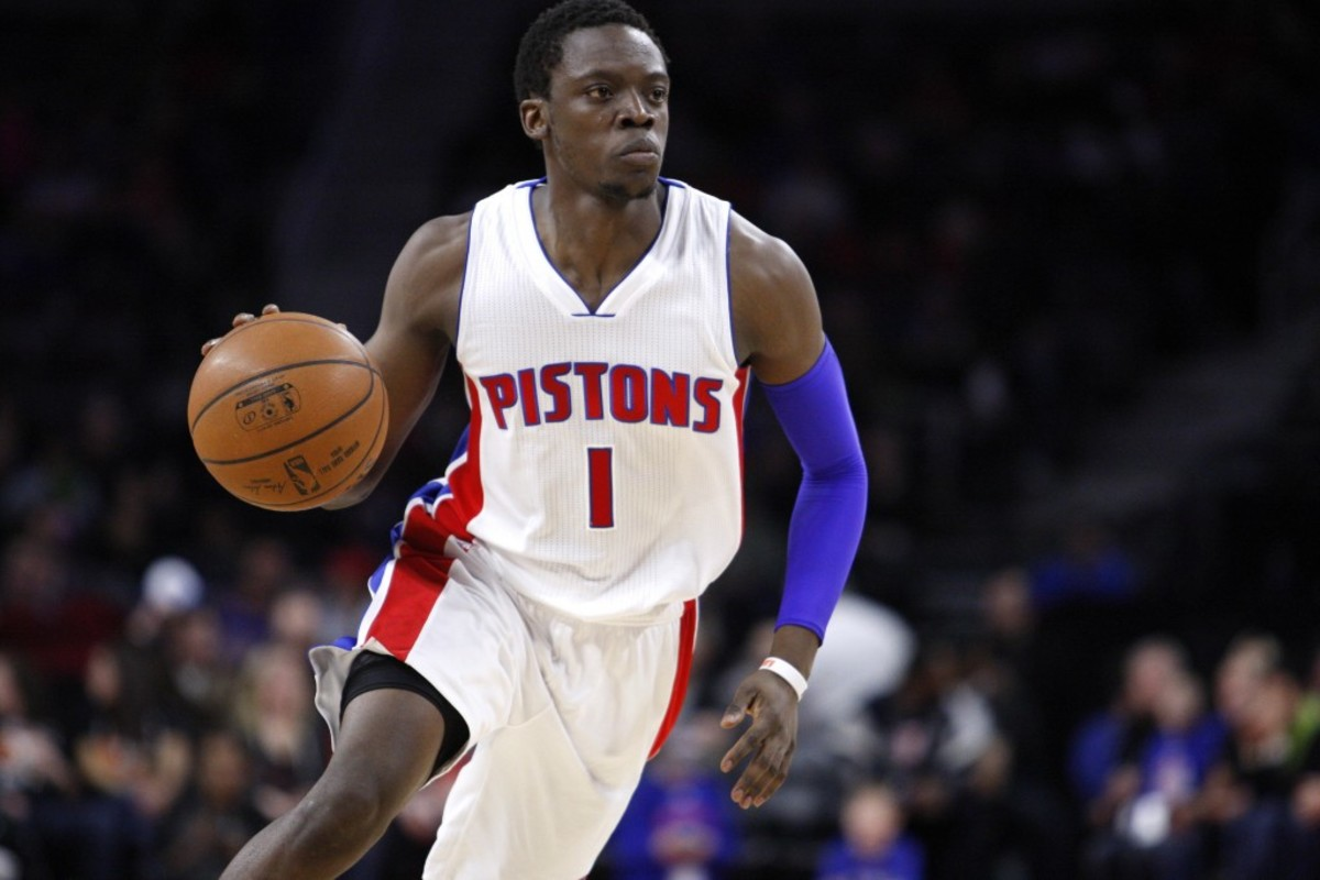 Mar 21, 2015; Auburn Hills, MI, USA; Detroit Pistons guard Reggie Jackson (1) dribbles the ball during the third quarter against the Chicago Bulls at The Palace of Auburn Hills. Pistons beat the Bulls 107-91. Mandatory Credit: Raj Mehta-USA TODAY Sports