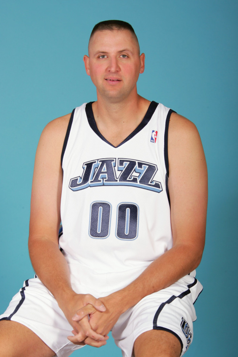 SALT LAKE CITY - OCTOBER 3:  Greg Ostertag #00 of the Utah Jazz poses for a portrait during NBA Media Day on October 3, 2005 at the Jazz Practice Facility in Salt Lake City, Utah.  NOTE TO USER: User expressly acknowledges and agrees that, by downloading and/or using this Photograph, user is consenting to the terms and conditions of the Getty Images License Agreement. Mandatory Copyright Notice: Copyright 2005 NBAE  (Photo By Kent Horner/NBAE via Getty Images)