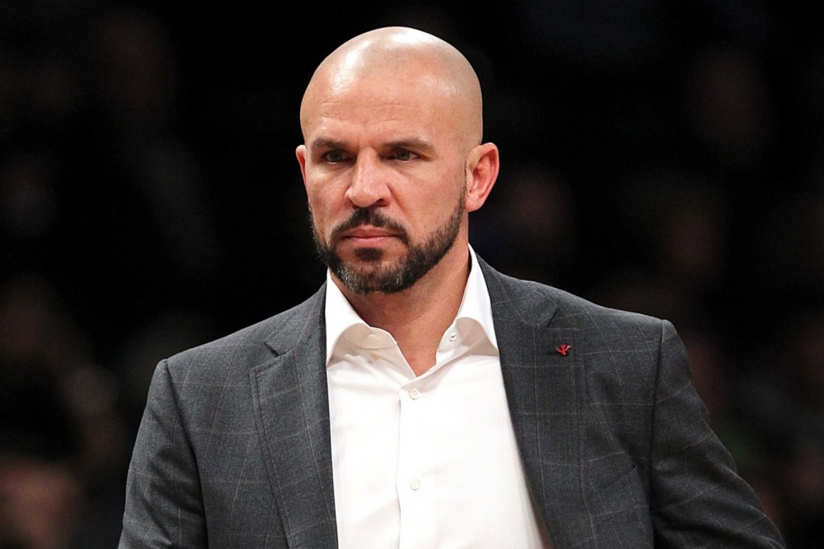 1/8/2014 - Golden State Warriors vs. Brooklyn Nets at the Barclays Center in Brooklny, New York - Brooklyn Nets head coach Jason Kidd reacts during the first quarter.