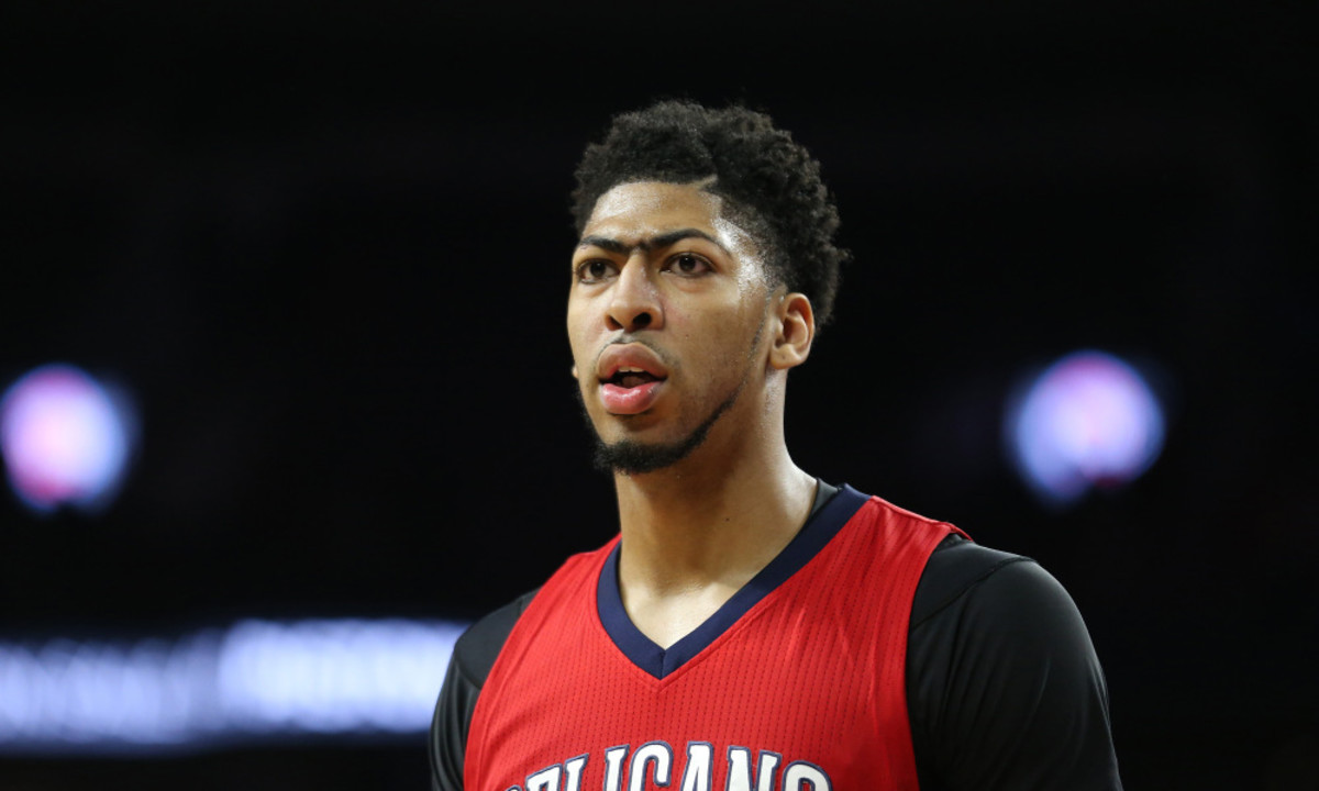 Feb 21, 2016; Auburn Hills, MI, USA; New Orleans Pelicans forward Anthony Davis (23) reacts after making a three point shot during the fourth quarter of the game.  Davis scored 59 point at The Palace of Auburn Hills. The Pelicans defeated the Pistons 111-106. Mandatory Credit: Leon Halip-USA TODAY Sports ORG XMIT: USATSI-232940 ORIG FILE ID:  20160221_ggw_sh9_268.JPG