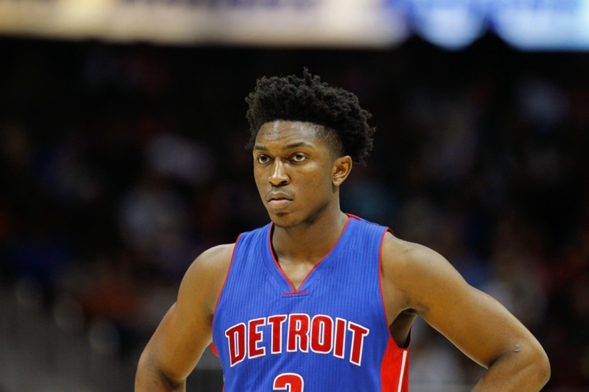 Dec 23, 2015; Atlanta, GA, USA; Detroit Pistons forward Stanley Johnson (3) in action against the Atlanta Hawks in the first quarter at Philips Arena. Mandatory Credit: Brett Davis-USA TODAY Sports