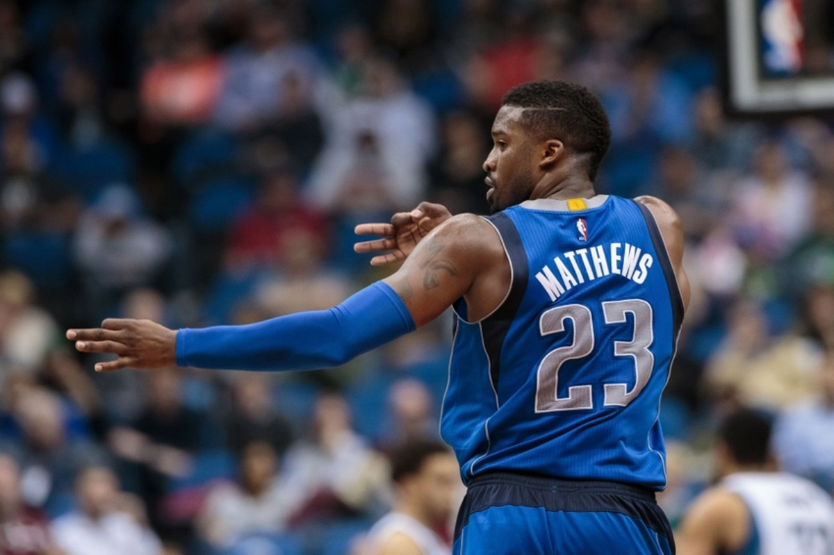 Apr 3, 2016; Minneapolis, MN, USA; Dallas Mavericks guard Wesley Matthews (23) celebrates his basket in the third quarter against the Minnesota Timberwolves at Target Center. The Dallas Mavericks beat the Minnesota Timberwolves 88-78. Mandatory Credit: Brad Rempel-USA TODAY Sports