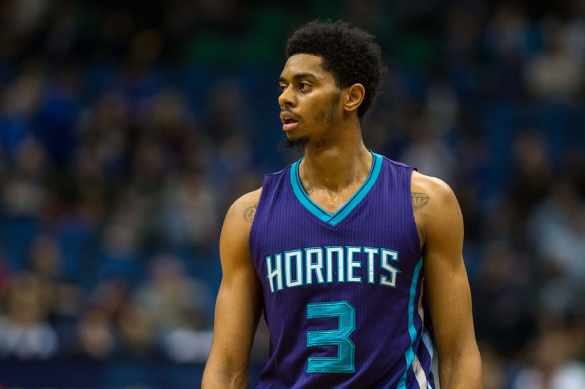 Nov 10, 2015; Minneapolis, MN, USA; Charlotte Hornets guard Jeremy Lamb (3) against the Minnesota Timberwolves at Target Center. The Hornets defeated the Timberwolves 104-95. Mandatory Credit: Brace Hemmelgarn-USA TODAY Sports
