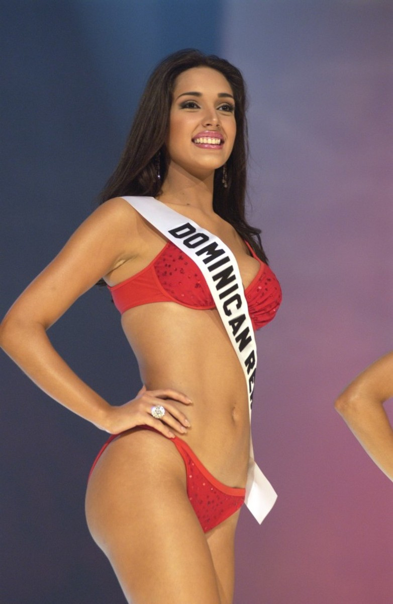 During the Miss Universe 2003 Presentation Show on May 29, 2003 at the Panama Canal Village Convention Center in Panama City, Panama, Amelia Vega, Miss Dominican Republic 2003, from Santiago, competes in her Endless Sun swimsuit, the official Swimwear of the 2003 Miss Universe Competition. During the Presentation Show, each Miss Universe delegate is judged by a preliminary panel of distinguished judges in three categories consisting of individual interview, swimsuit competition and evening gown competition.  The scores are tallied and the top 15 delegates will be announced during the LIVE two hour broadcast of the 52nd annual Miss Universe competition on June 3, 2003 from Panama City, Panama on NBC at 9:00 PM (ET)/8:00 PM (CT) (delayed PT). ho/MISS UNIVERSE L.P., LLLP