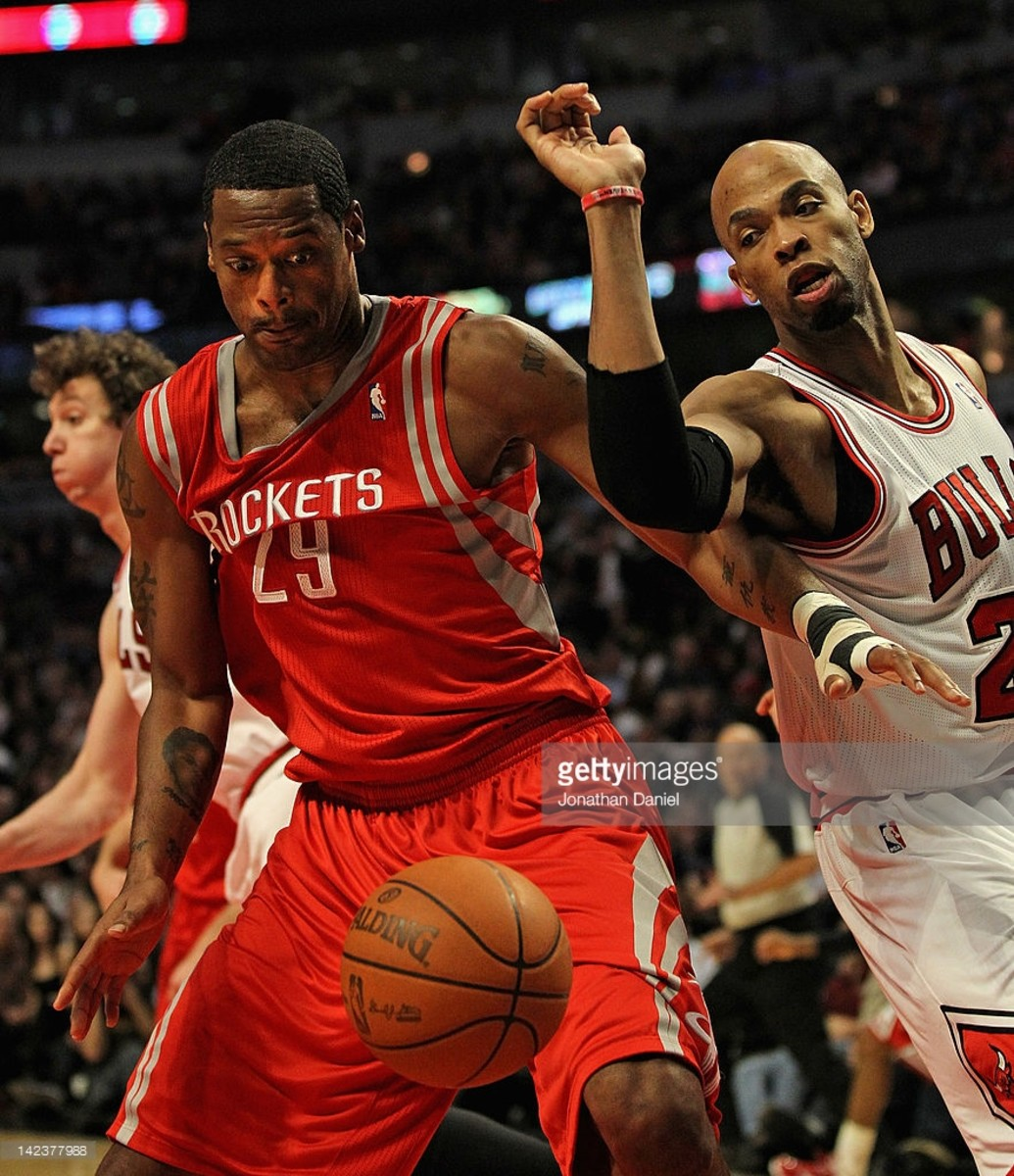 CHICAGO, IL - APRIL 02: of the Chicago Bulls of the Houston Rockets at the United Center on April 2, 2012 in Chicago, Illinois. The Rockets defeated the Bulls 99-93. NOTE TO USER: User expressly acknowledges and agrees that, by downloading and or using this photograph, User is consenting to the terms and conditions of the Getty Images License Agreement. (Photo by Jonathan Daniel/Getty Images)