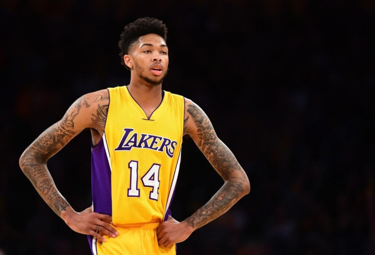 LOS ANGELES, CA - OCTOBER 26:  Brandon Ingram #14 of the Los Angeles Lakers waits for play during a 120-114 season opening win over the Houston Rockets at Staples Center on October 26, 2016 in Los Angeles, California.  NOTE TO USER: User expressly acknowledges and agrees that, by downloading and or using this photograph, User is consenting to the terms and conditions of the Getty Images License Agreement.  (Photo by Harry How/Getty Images)