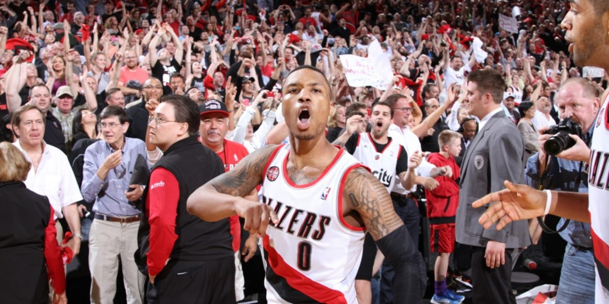 PORTLAND, OR - MAY 2: Damian Lillard #0 of the Portland Trail Blazers after the game against the Houston Rockets in Game Six of the Western Conference Quarterfinals during the 2014 NBA Playoffs on May 2, 2014 at the Moda Center in Portland, Oregon. NOTE TO USER: User expressly acknowledges and agrees that, by downloading and or using this photograph, User is consenting to the terms and conditions of the Getty Images License Agreement. Mandatory Copyright Notice: Copyright 2014 NBAE (Photo by Sam Forencich/NBAE via Getty Images)