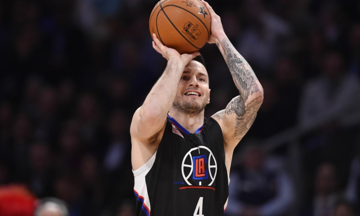 Feb 13, 2016; Toronto, Ontario, Canada; Los Angeles Clippers guard J.J. Redick competes in the three-point contest during the NBA All Star Saturday Night at Air Canada Centre. Mandatory Credit: Bob Donnan-USA TODAY Sports ORG XMIT: USATSI-264626 ORIG FILE ID:  20160213_jel_sd2_150.jpg