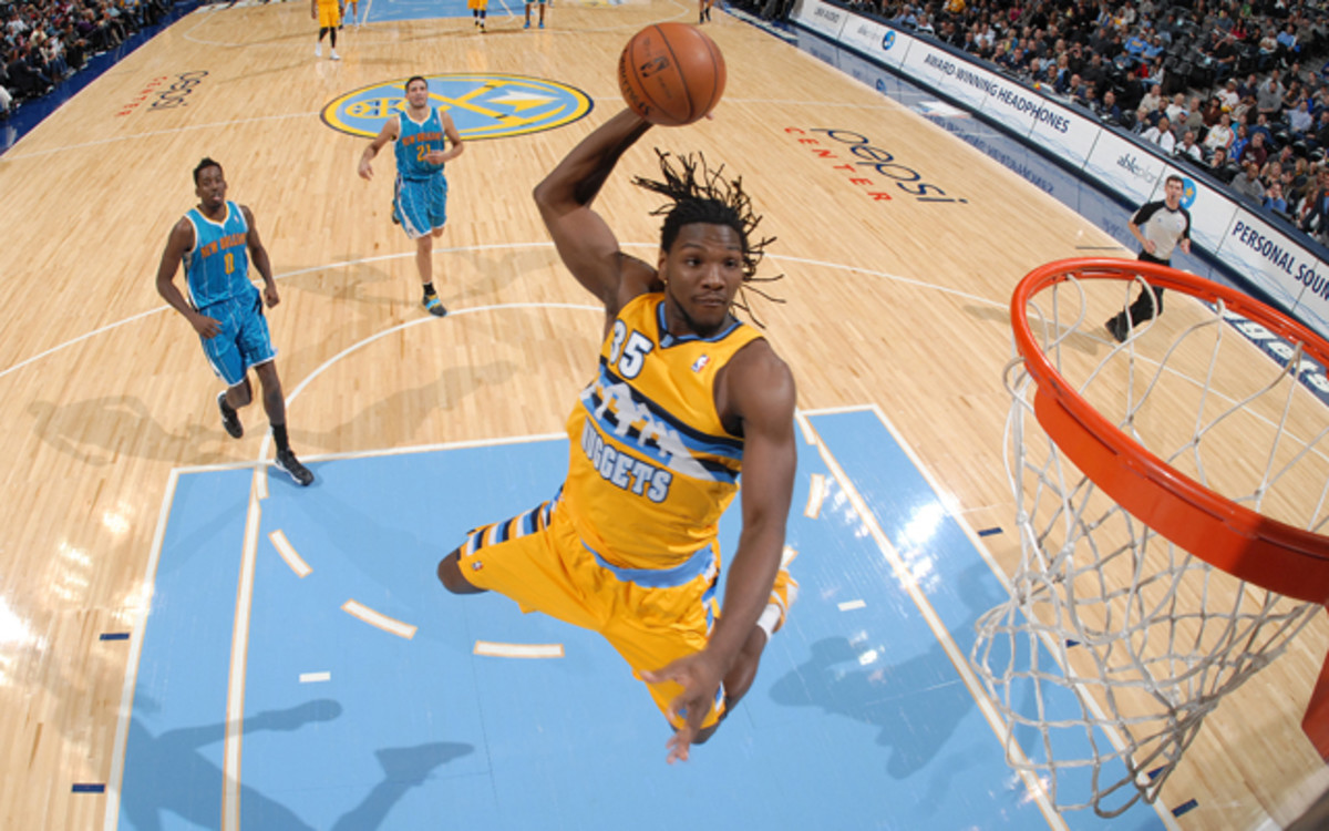 DENVER, CO - NOVEMBER 25:  Kenneth Faried #35 of the Denver Nuggets goes to the basket during the game between the New Orleans Hornets and the Denver Nuggets on November 25, 2012 at the Pepsi Center in Denver, Colorado. NOTE TO USER: User expressly acknowledges and agrees that, by downloading and/or using this Photograph, user is consenting to the terms and conditions of the Getty Images License Agreement. Mandatory Copyright Notice: Copyright 2012 NBAE (Photo by Garrett W. Ellwood/NBAE via Getty Images)