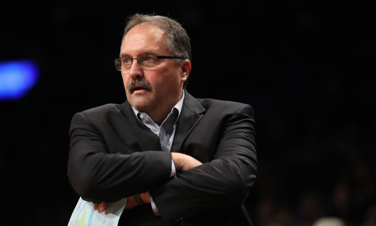 Nov 2, 2016; Brooklyn, NY, USA; Detroit Pistons head coach Stan Van Gundy during the second quarter against the Brooklyn Nets at Barclays Center. Mandatory Credit: Anthony Gruppuso-USA TODAY Sports ORG XMIT: USATSI-323470 ORIG FILE ID:  20161102_jfv_ag9_085.jpg