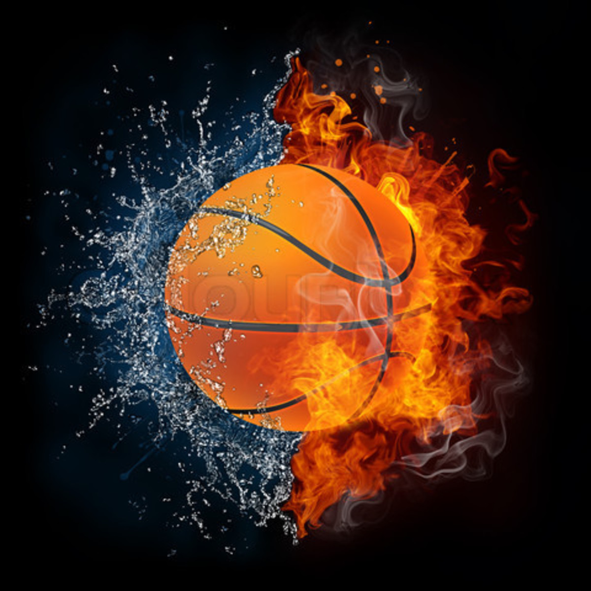 Basketball Ball in Fire and Water Isolated on the Black Background