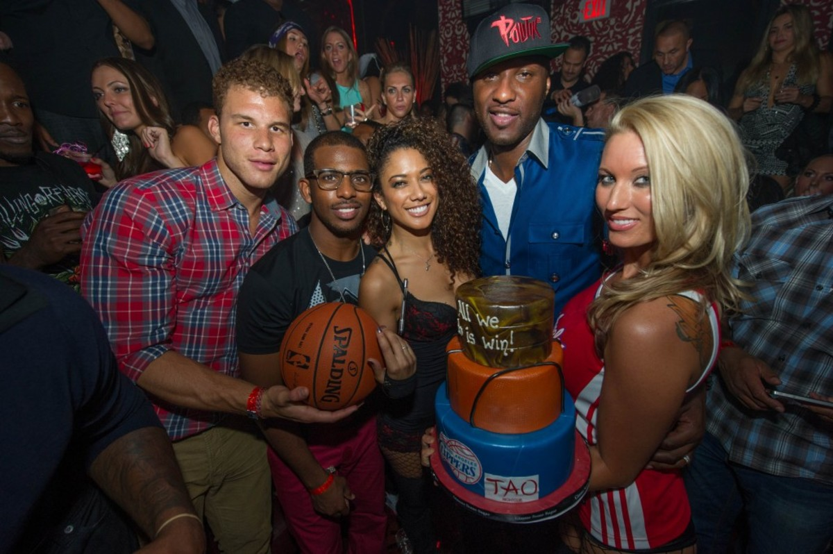 Blake Griffin, Chris Paul and Lamar Odom of the Los Angeles Clippers hosts the Preseason Ballers Ball at TAO Nightclub on Friday, Oct. 5, 2012 in Las Vegas. (Photo by Powers Imagery for TAO Nightclub/Invision/AP Images)
