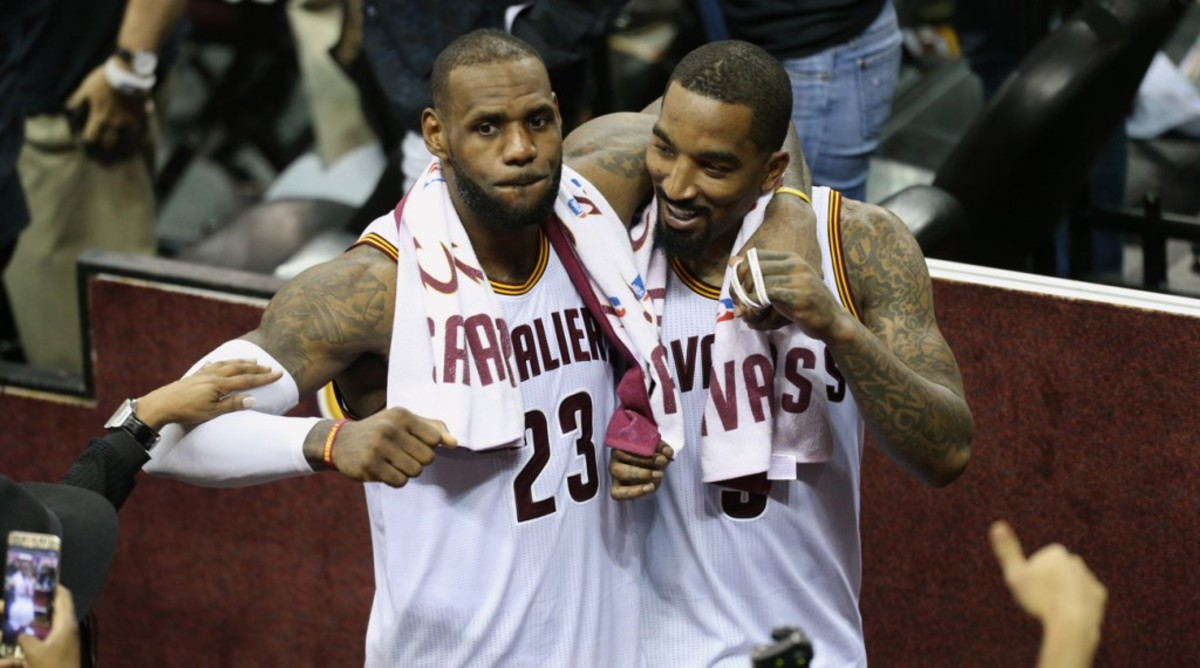 CLEVELAND, OH - JUNE 16:  J.R. Smith #5 and LeBron James #23 of the Cleveland Cavaliers celebrate during the game against the Golden State Warriors in Game Six of the 2016 NBA Finals on June 16, 2016 at Quicken Loans Arena in Cleveland, Ohio. NOTE TO USER: User expressly acknowledges and agrees that, by downloading and or using this Photograph, user is consenting to the terms and conditions of the Getty Images License Agreement. Mandatory Copyright Notice: Copyright 2016 NBAE (Photo by Joe Murphy/NBAE via Getty Images)