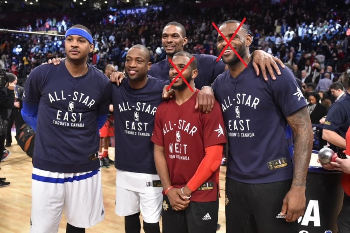 Feb 14, 2016; Toronto, Ontario, CAN; Carmelo Anthony, Dwayne Wade, Chris Bosh, Chris Paul, and LeBron James pose for a picture after the NBA All Star Game at Air Canada Centre. Mandatory Credit: Bob Donnan-USA TODAY Sports