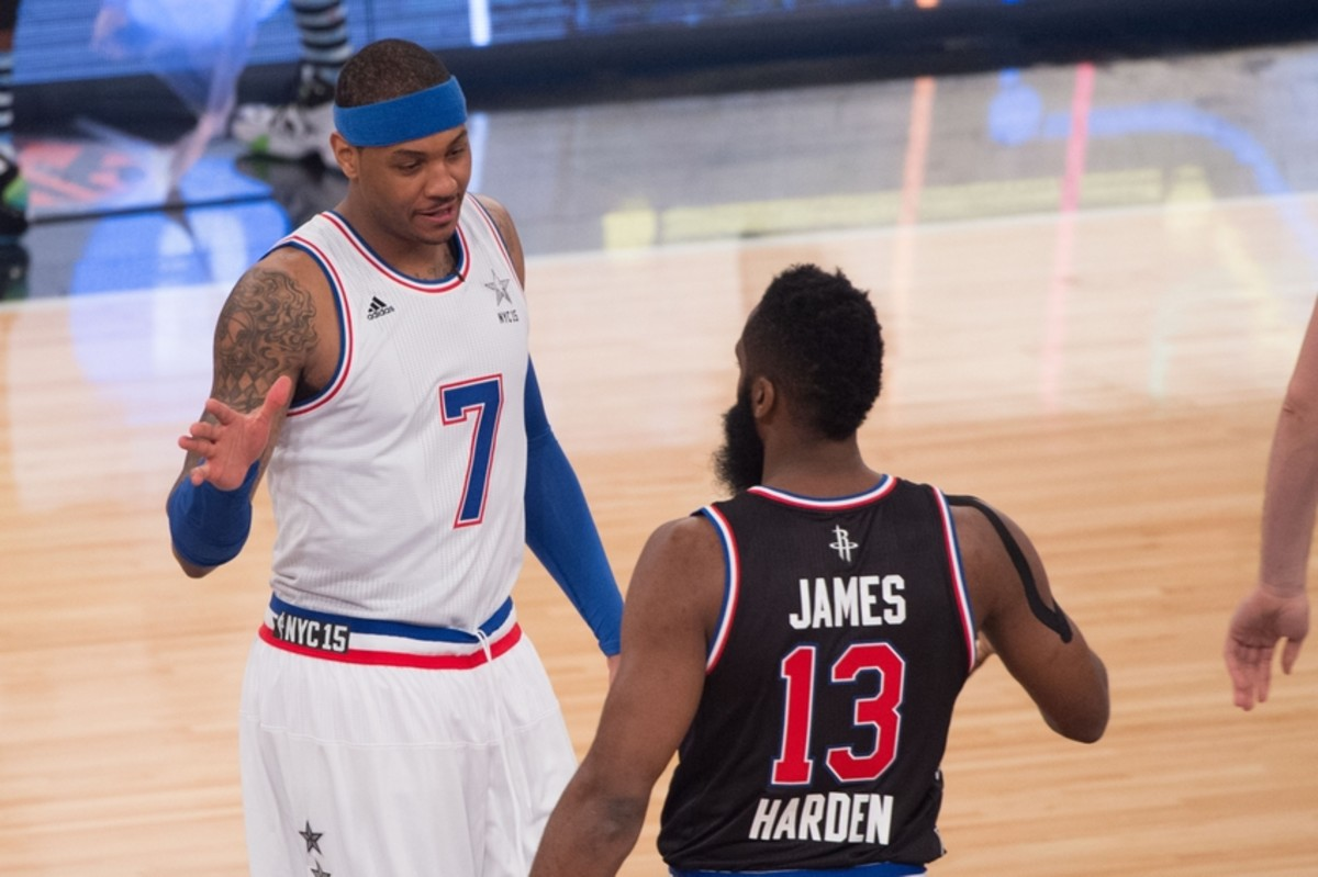 February 15, 2015; New York, NY, USA; Eastern Conference forward Carmelo Anthony of the New York Knicks (7) shakes hands with Western Conference guard James Harden of the Houston Rockets (13) before the 2015 NBA All-Star Game at Madison Square Garden.Mandatory Credit: Kyle Terada-USA TODAY Sports