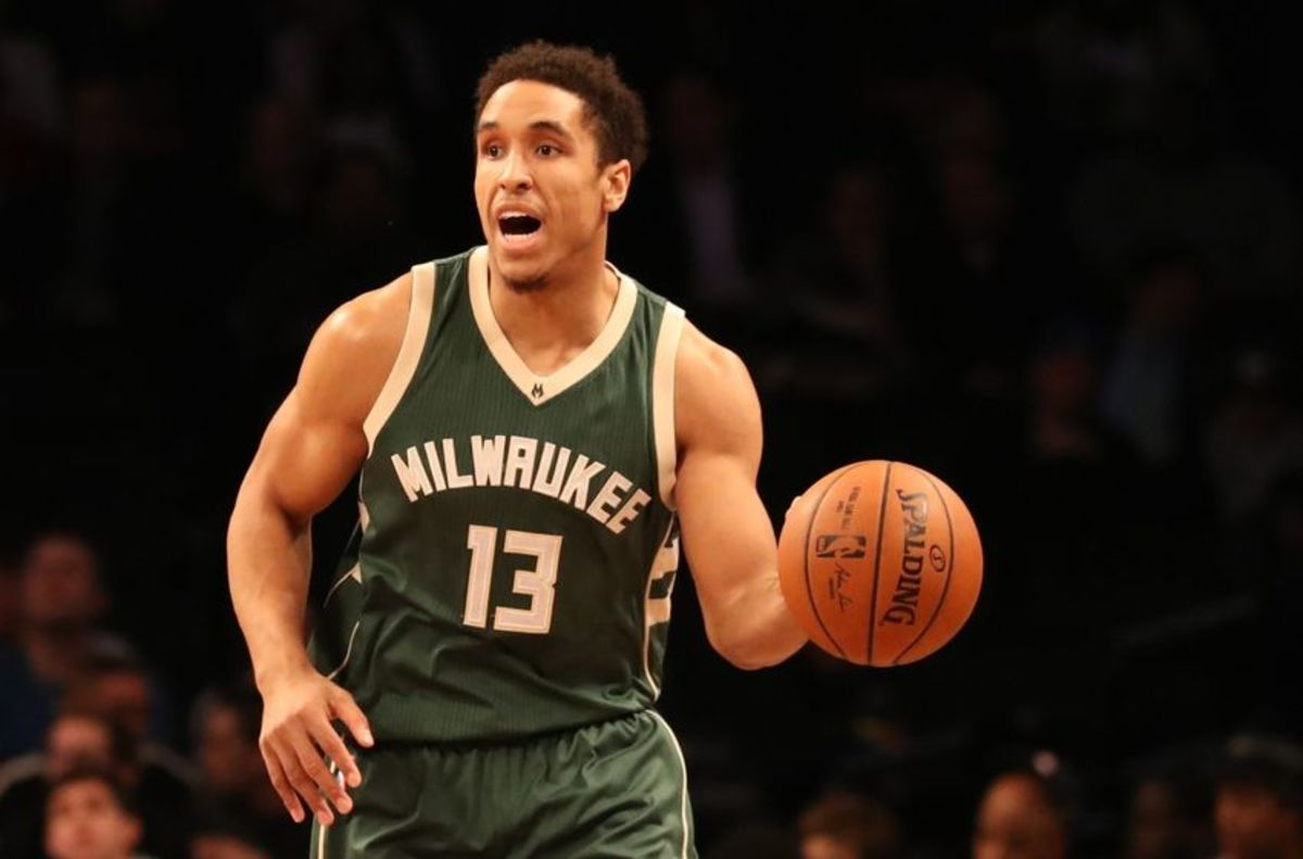 Dec 1, 2016; Brooklyn, NY, USA;  Milwaukee Bucks guard Malcolm Brogdon (13) advances the ball during the first quarter against the Brooklyn Nets at Barclays Center. Mandatory Credit: Anthony Gruppuso-USA TODAY Sports