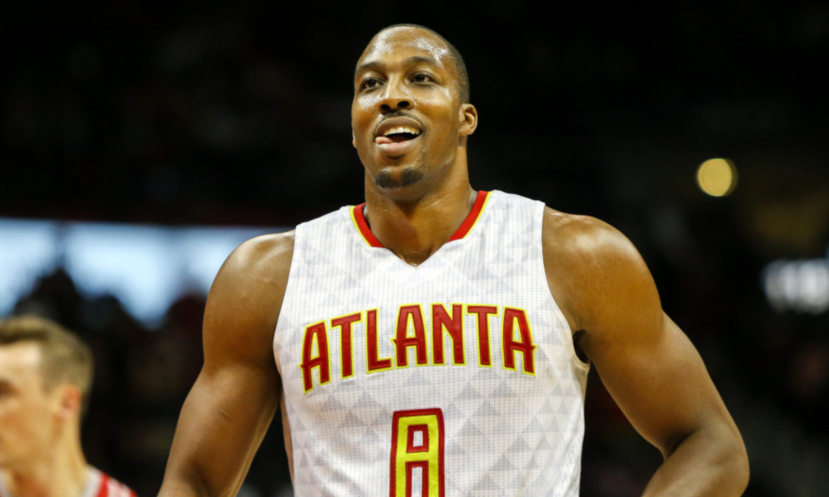 Nov 5, 2016; Atlanta, GA, USA; Atlanta Hawks center Dwight Howard (8) shows emotion against the Houston Rockets in the fourth quarter at Philips Arena. The Hawks defeated the Rockets 112-97. Mandatory Credit: Brett Davis-USA TODAY Sports ORG XMIT: USATSI-323524 ORIG FILE ID:  20161105_tdc_ad1_104.JPG