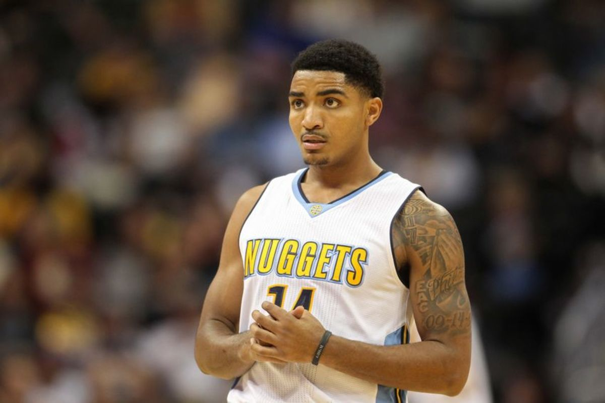 Nov 12, 2016; Denver, CO, USA; Denver Nuggets guard Gary Harris (14) during the game against the Detroit Pistons at Pepsi Center. Mandatory Credit: Chris Humphreys-USA TODAY Sports