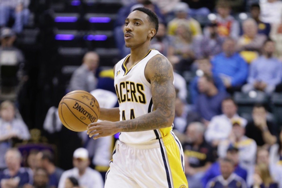 Indiana Pacers guard Jeff Teague (44) during the second half of an NBA basketball game against the Philadelphia 76ers in Indianapolis, Wednesday, Nov. 9, 2016. The Pacers defeated the 76ers 122-115 in overtime. (AP Photo/Michael Conroy)