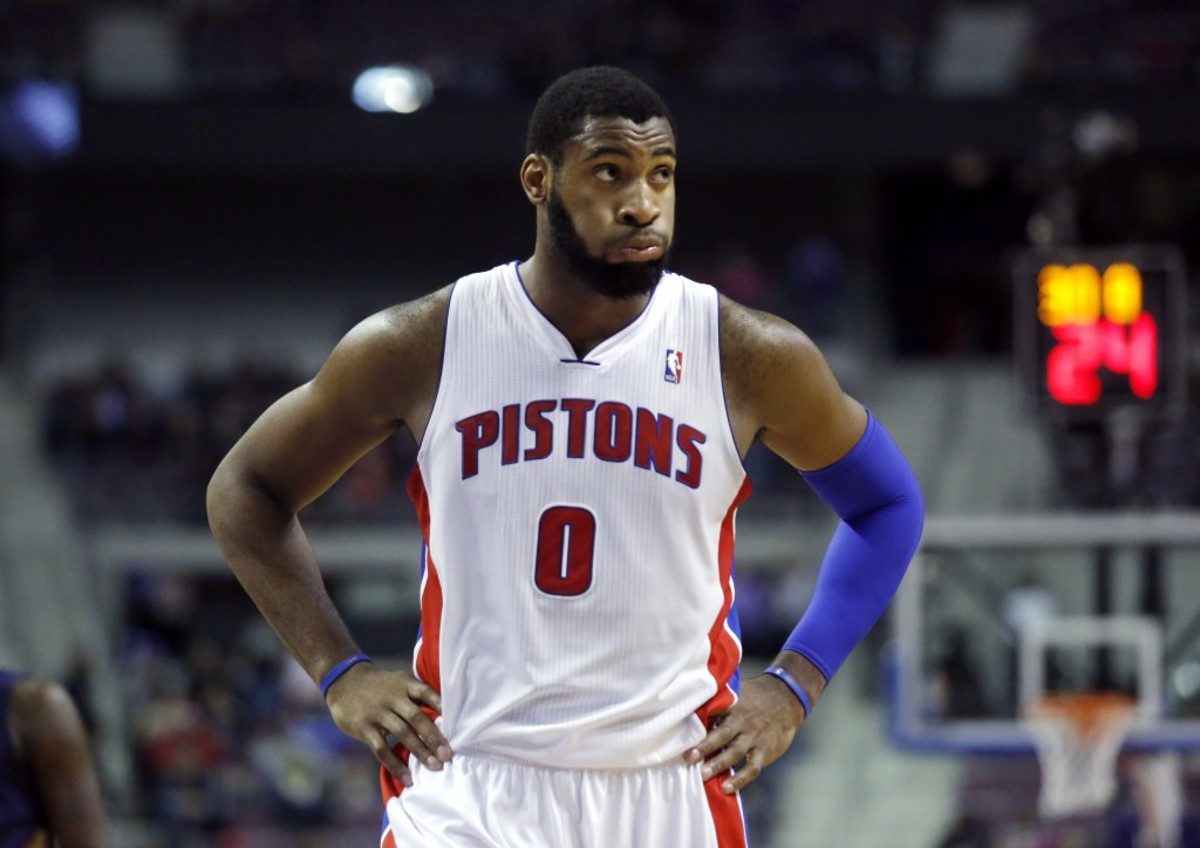 Detroit Pistons center Andre Drummond returns to the court after the New Orleans Pelicans took 101-98 lead over the Pistons during the fourth quarter of an NBA basketball game Friday, Jan. 24, 2014, in Auburn Hills, Mich. The Pelicans defeated the Pistons 103-101. (AP Photo/Duane Burleson)