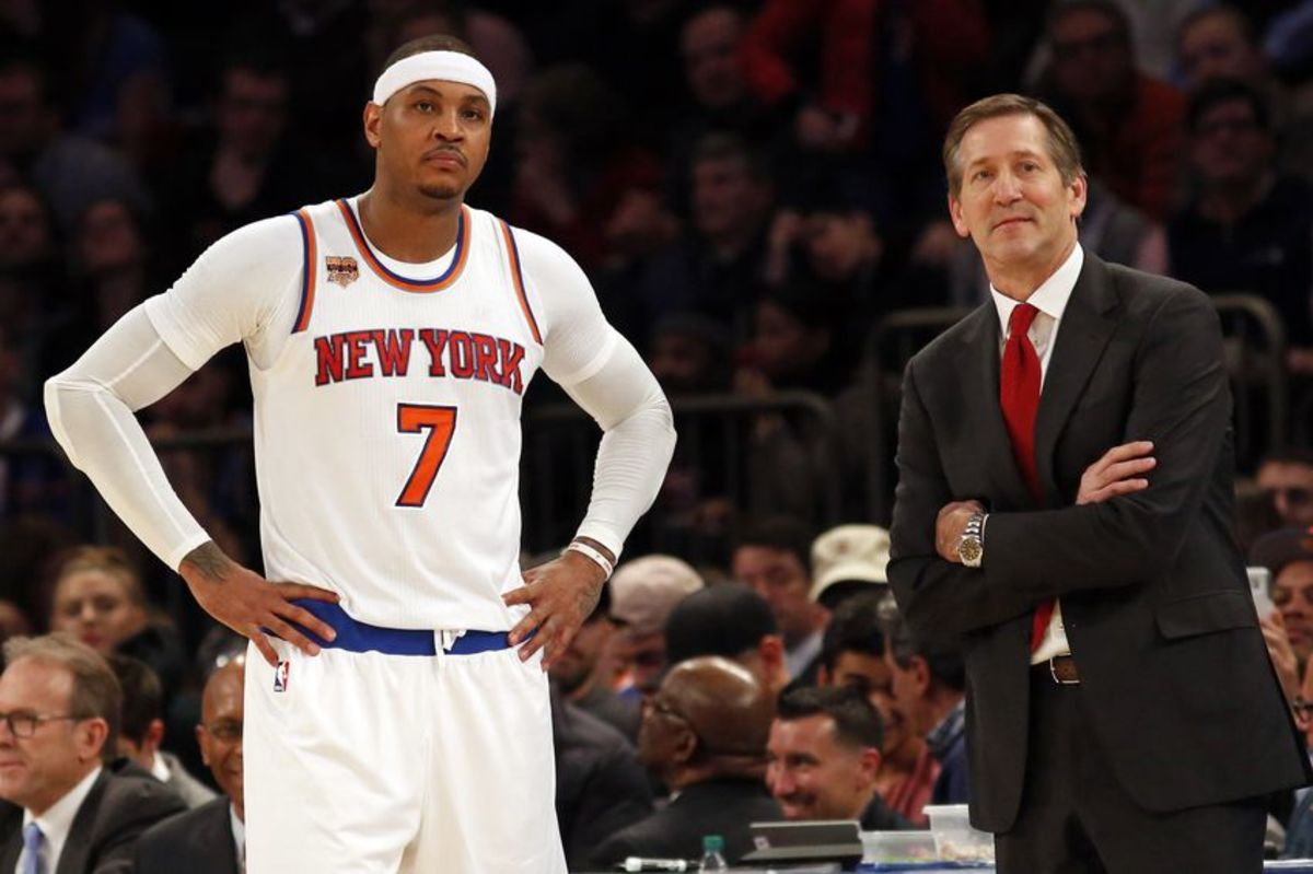 Dec 20, 2016; New York, NY, USA; New York Knicks head coach Jeff Hornacek looks on during a break in action with New York Knicks forward Carmelo Anthony (7) against the Indiana Pacers during the second half at Madison Square Garden. Mandatory Credit: Adam Hunger-USA TODAY Sports