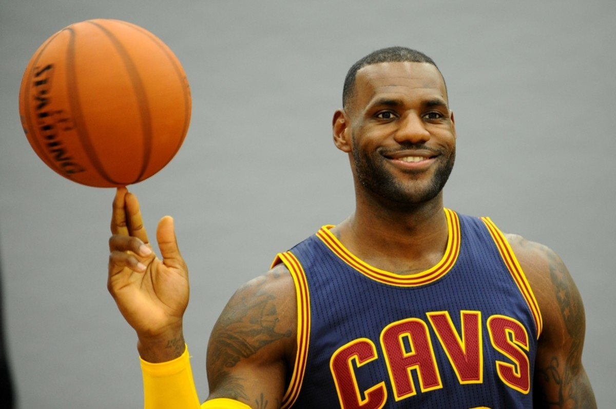 Sep 28, 2015; Cleveland, OH, USA; Cleveland Cavaliers forward LeBron James (23) poses for a photo during Cleveland Cavaliers media day at Cleveland Clinic Courts. Mandatory Credit: Ken Blaze-USA TODAY Sports