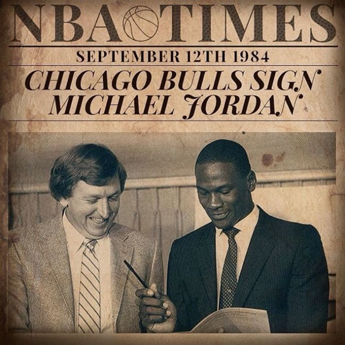 Michael Jordan Signed With Chicago Bulls