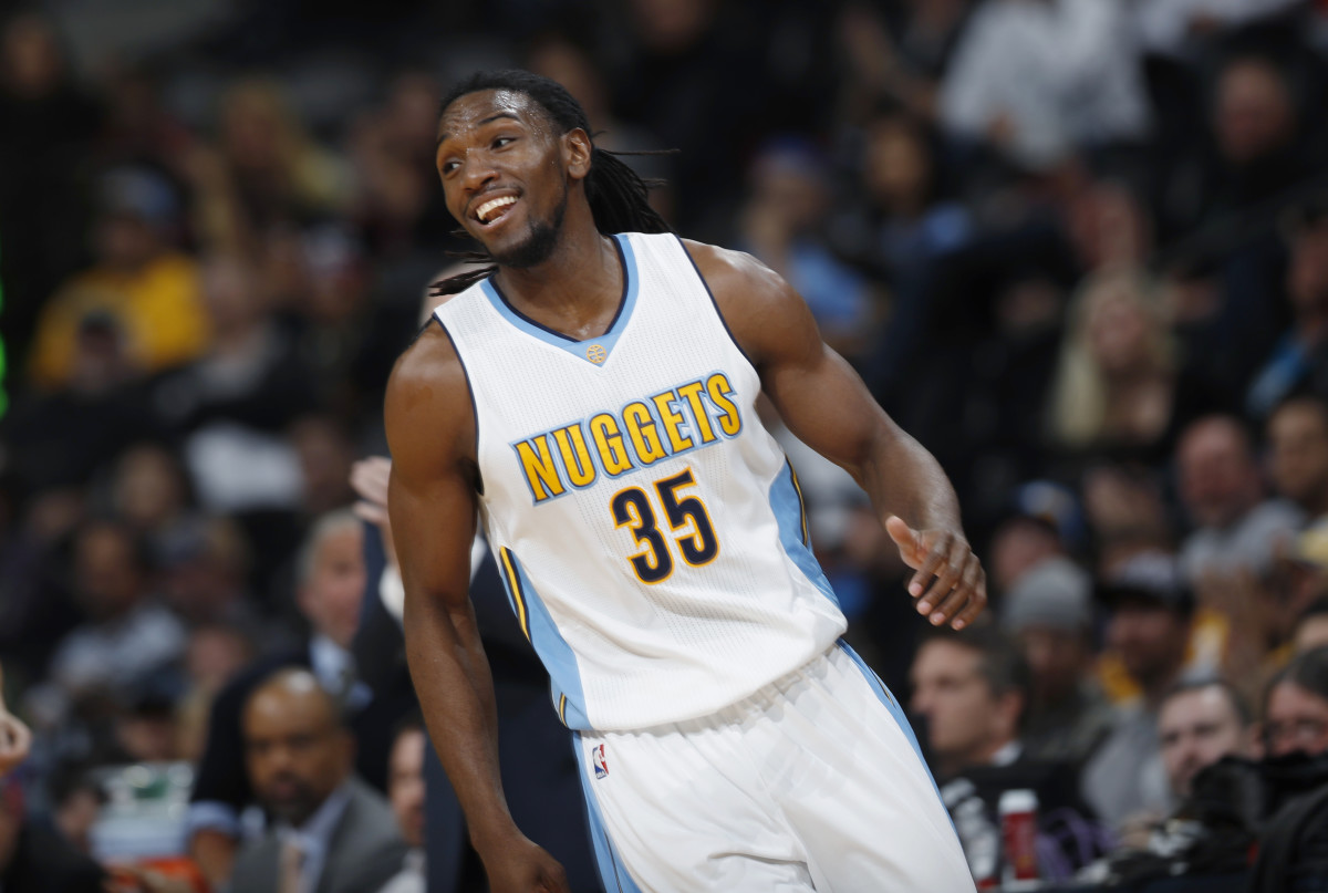 Denver Nuggets forward Kenneth Faried celebrates after hitting a basket against the Phoenix Suns late in the second half of an NBA basketball game Wednesday, Nov. 16, 2016, in Denver. The Nuggets won 120-104. (AP Photo/David Zalubowski)