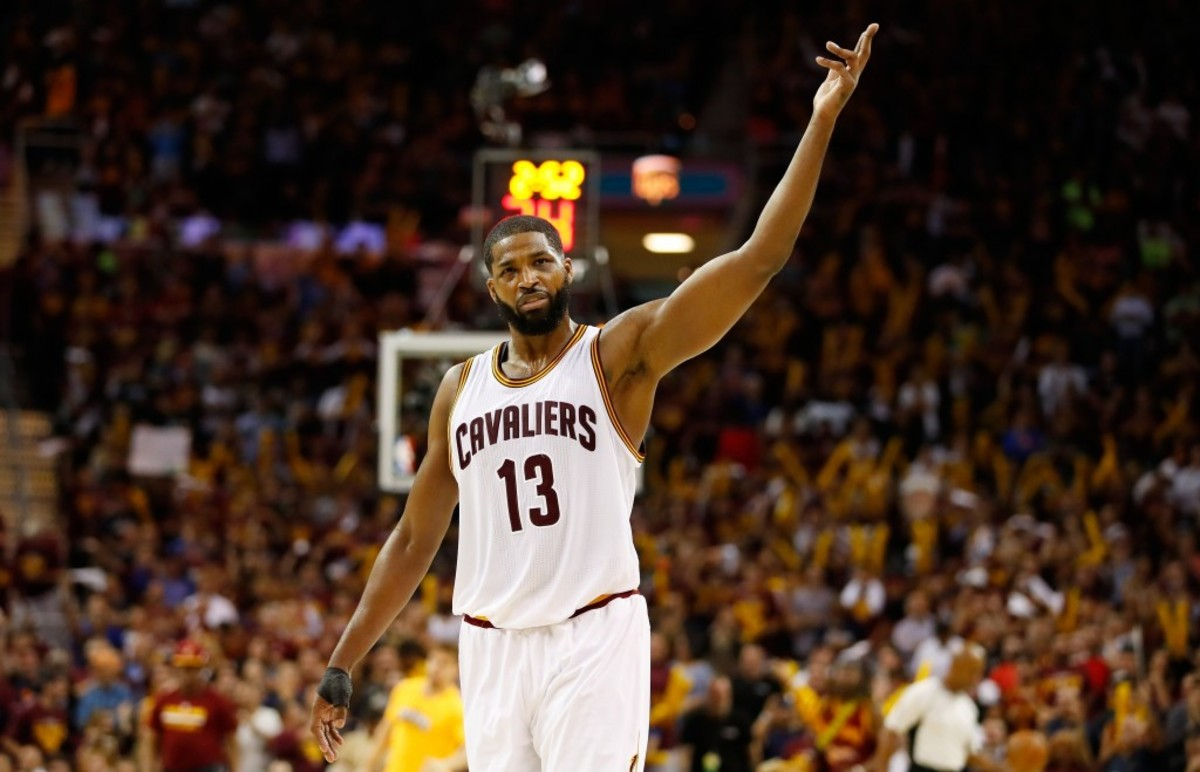CLEVELAND, OH - MAY 23:  Tristan Thompson #13 of the Cleveland Cavaliers reacts in the third quarter against the Boston Celtics during Game Four of the 2017 NBA Eastern Conference Finals at Quicken Loans Arena on May 23, 2017 in Cleveland, Ohio. NOTE TO USER: User expressly acknowledges and agrees that, by downloading and or using this photograph, User is consenting to the terms and conditions of the Getty Images License Agreement.  (Photo by Gregory Shamus/Getty Images)