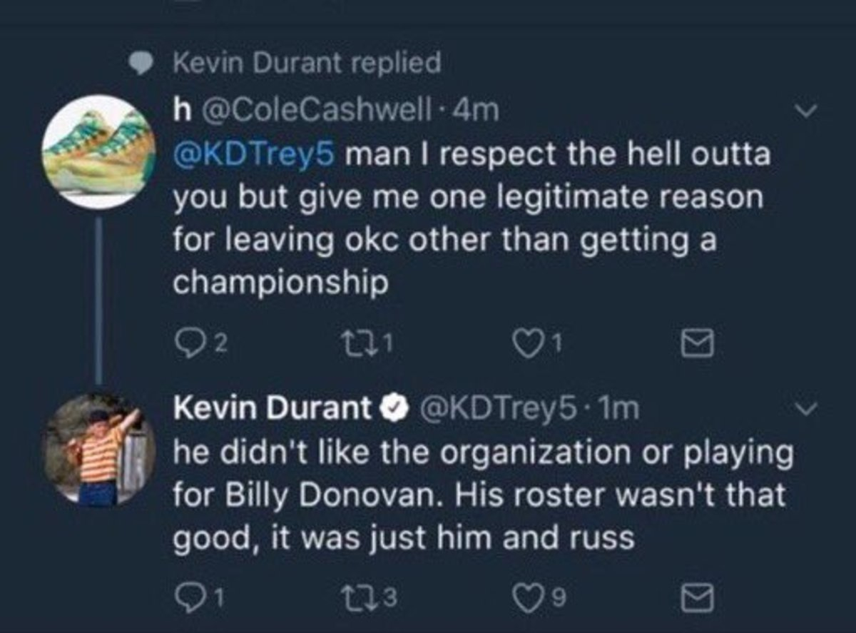 So ... is Kevin Durant using fake social media accounts to defend himself?