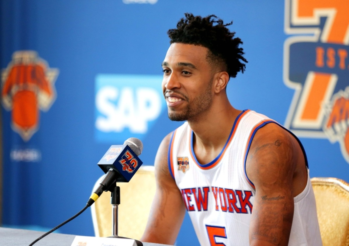 Sep 26, 2016; White Plains, NY, USA; New York Knicks guard Courtney Lee addresses the media during the New York Knicks Media Day at Ritz-Carlton. Mandatory Credit: Andy Marlin-USA TODAY Sports