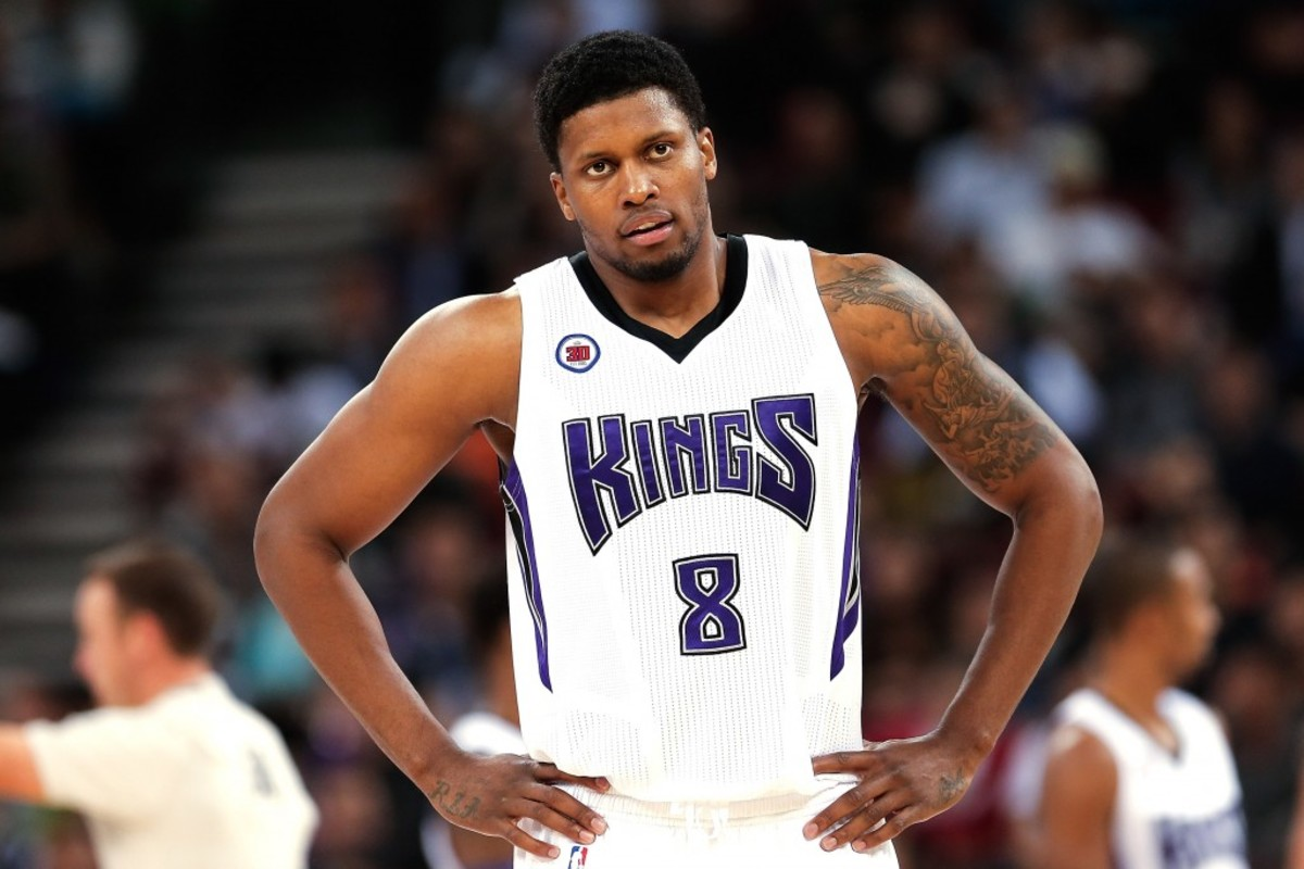 BEIJING, CHINA - OCTOBER 15: Rudy Gay #8 of Sacramento Kings looks on during the 2014 NBA Global Games match between the Brooklyn Nets and Sacramento Kings at MasterCard Center on October 15, 2014 in Beijing, China. NOTE TO USER: User expressly acknowledges and agrees that, by downloading and/or using this photograph, user is consenting to the terms and conditions of the Getty Images License Agreement.   (Photo by Lintao Zhang/Getty Images)