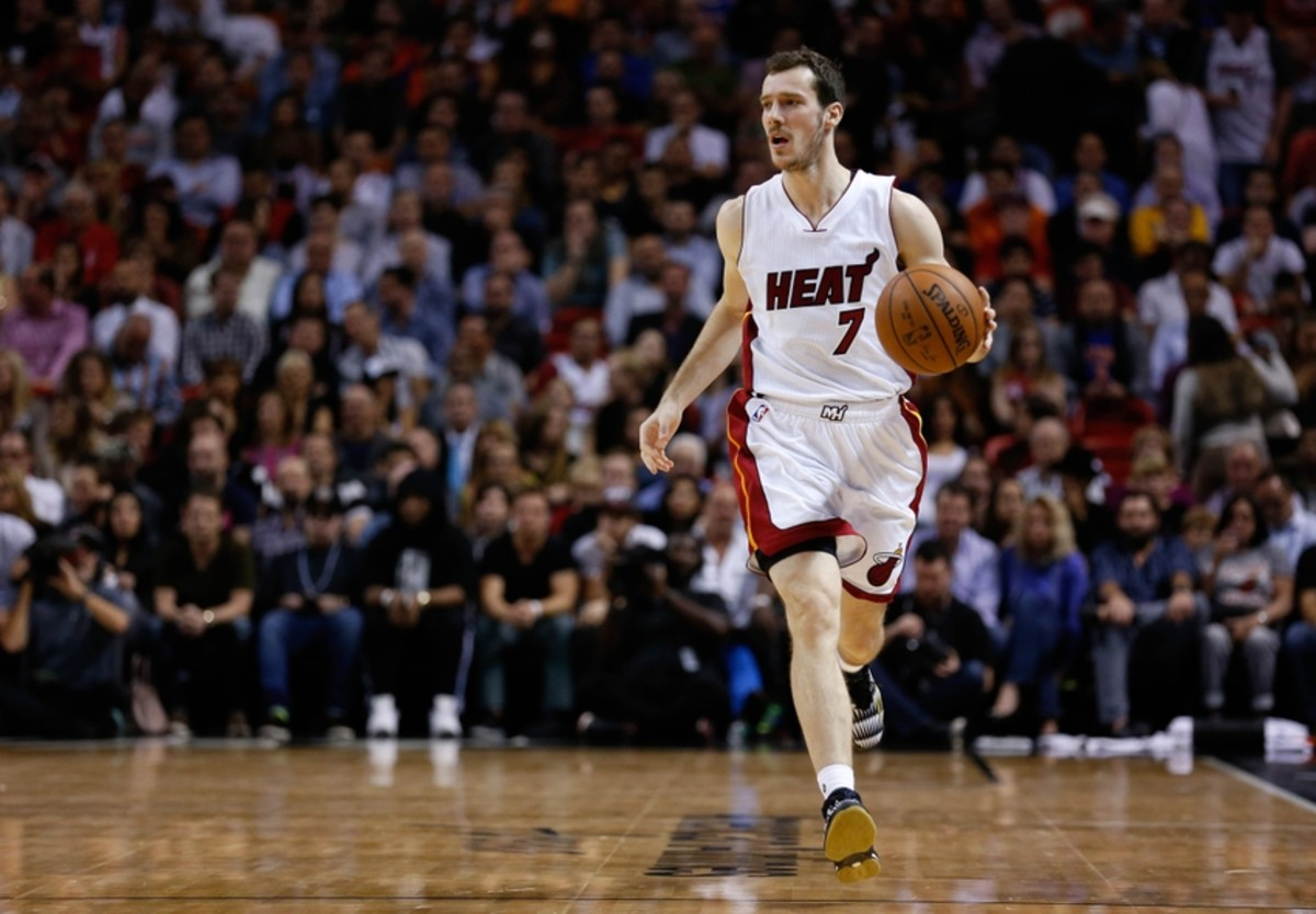 Nov 23, 2015; Miami, FL, USA; Miami Heat guard Goran Dragic (7) dribbles the ball against the New York Knicks during the first half at American Airlines Arena. Mandatory Credit: Steve Mitchell-USA TODAY Sports