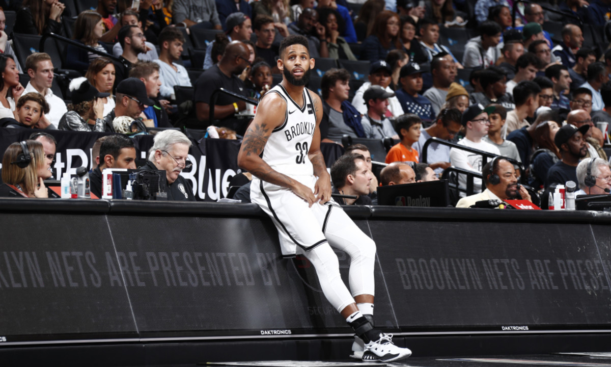 BROOKLYN, NY - OCTOBER 8: Allen Crabbe #33 of the Brooklyn Nets looks on from the sideline during a preseason game against the New York Knicks on October 8, 2017 at Barclays Center in Brooklyn, New York. NOTE TO USER: User expressly acknowledges and agrees that, by downloading and or using this Photograph, user is consenting to the terms and conditions of the Getty Images License Agreement. Mandatory Copyright Notice: Copyright 2017 NBAE (Photo by Nathaniel S. Butler/NBAE via Getty Images)